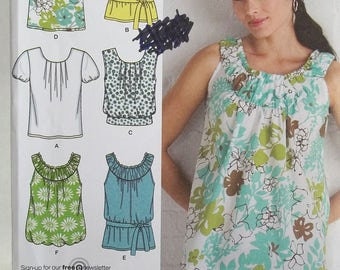 Simplicity 2892 Sewing Pattern Easy Misses' Summer Tops, Bubble Top, Gathered Neckline Blouse with Tie Belt Sleeve Variations Size 6 - 14