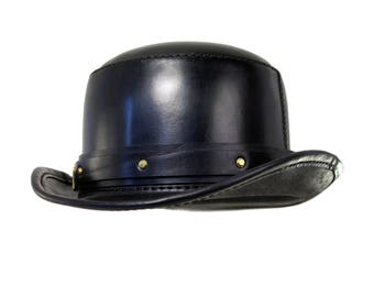 STEAMPUNK LEATHER HAT Bowler top hat in black leather