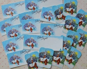 Vintage Silent Night Christmas Tags & Seals Lot 22 pc