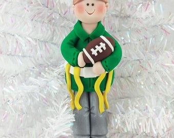 Flag Football Ornament - Gift for Flag Football Player - Football Christmas Ornament - Handmade Polymer Clay - Football Fan Gift - 31210