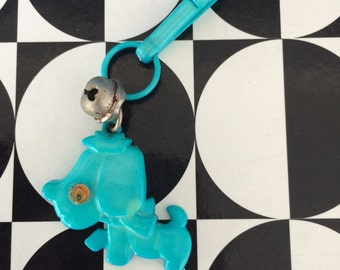 Vintage 80's Plastic Bell Clip Charm Puppy Dog with Google Eye Toy Necklace Jewelry Pendant