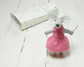 Small felt stuffed animals little mouse in a matchbox bed miniature floral pink gift for children gift under 20 woodland animal