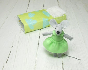 Gift mom mother daughter best friend baby welcoming felt miniature stuffed animal mouse with matchbox mint green lime woodland nursery decor