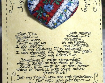 Quilted Heart Pin on Card Valentine's Day Applique Quilt Friend Gift