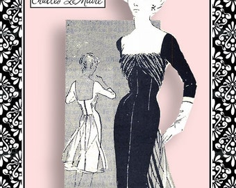Vintage 1950s-GLAMOROUS COCKTAIL DRESS-Designer Sewing Pattern-Sexy Neckline-Back-Fitted-Draped Bodice-Flutter Back-Size 12-Rare-Collectible