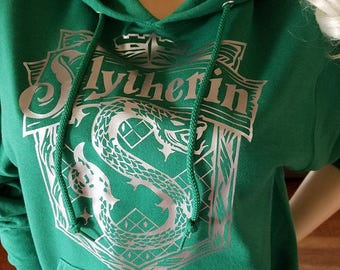 Hogwarts House (Slytherin) Inspired Hooded Sweatshirt by BKCC