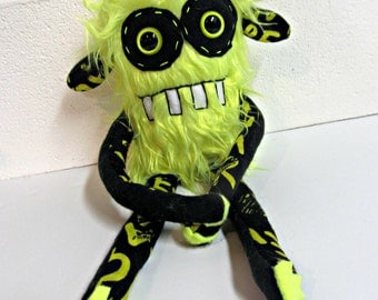 Handmade Monster Plush - OOAK Plush Monster Toy - Hand Embroidered Stuffed Monster - Neon Yellow Faux Fur Monster - Cute Weird Plush Toy