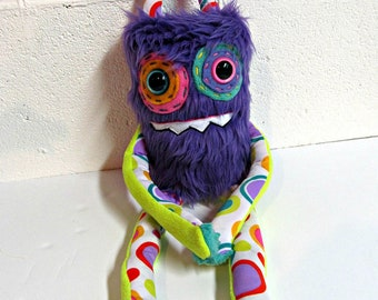 Handmade Monster Plush - OOAK Plush Monster Toy - Hand Embroidered Stuffed Monster - Purple Faux Fur Monster - Cute Weird Plush Toy - Bright