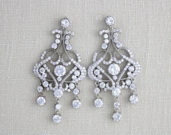 Crystal Bridal earrings, Wedding earrings, Wedding jewelry, Statement earrings, Art Deco Earrings, Rose Gold earrings, Vintage VICTORIA