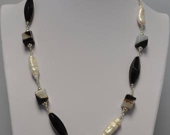 Biwa Freshwater Pearl, Onyx and Agate Necklace