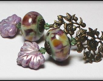Handmade Earrings, Beaded, Lampwork, Crystal, Antique Brass, Lavender, Pink, Green, Artisan, Lampwork Earrings, Posts, Flower, Leaf, Leaves