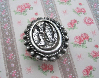 Antique Our Lady of Lourdes pin, Antique Catholic brooch, Antique silver religious brooch, Antique Holy Mary brooch, Antique French brooch