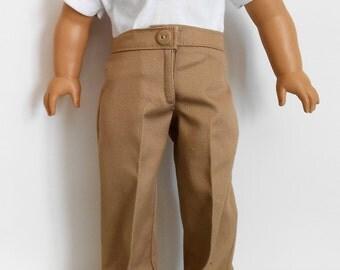 School uniform khaki pants with white polo shirt fits American Girl or boy