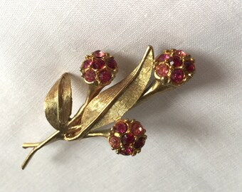 Vintage Flower Brooch with Pink Stones