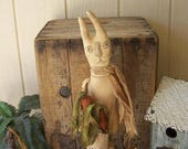 PriMiTiVe Bunny Rabbit Makedo Carrying Bag of Grungy Carrots Spring Garden Wooden Spool Aged Stained OFG Hafair Faap