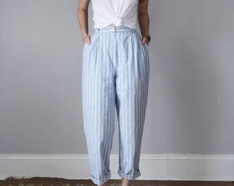 80s high waist pleated blue & white cotton striped pants (s - m)