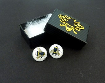 "Vintage Image  Bee  Earrings.  Post or Stud Earrings in Hand Decorated Gift Box.  SMALL and Lightweight 5/8"" or 16 mm Round."