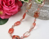 Cherry Quartz Necklace - Genuine Gemstone - Natural Stone - Sterling Silver - Gift For Her - Beaded Jewelry