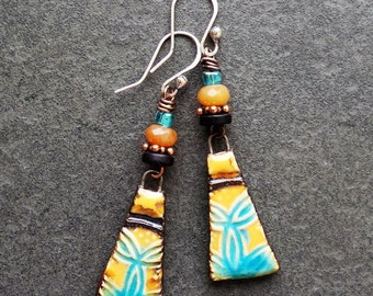 Boho Chic Ceramic Charms Quartz Wood and Glass Earrings, Orange Turquoise and Brown Colored Patterned Drop Earrings
