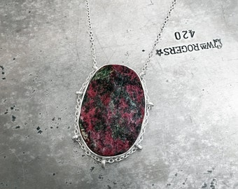 "Rough Eudyalite ""path"" in sterling silver necklace"