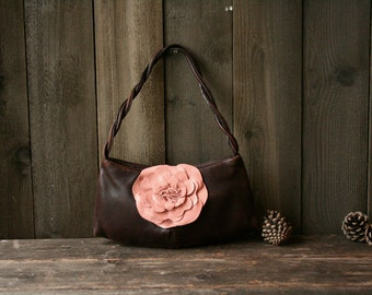 Paolo Masi Vintage Leather Purse Italian Bag With Pink Leather Flower Vintage From Nowvintage on etsy