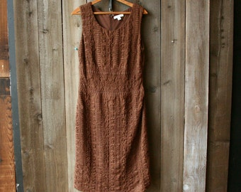 Eyelet Sleeveless Dress Brown Coldwater Creek Size 8 Vintage From Nowvintage on Etsy