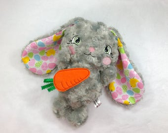 Gray Floppy Ear Bunny - Stuffed Easter Bunny - Easter Bunny for Girls - Plush Easter Rabbit - Lop Eared Bunny - Easter Lop Eared Rabbit