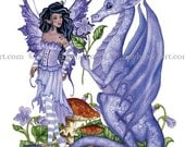 5x7 Dragons Are Romantic dragon and fairy PRINT by Amy Brown