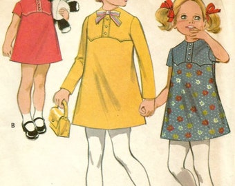 Vintage 70s McCalls 2329 Toddler Girls Yoked A-Line Dress Sewing Pattern Size 4 breast 23
