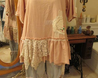 Vintage Kitty.. french market Tunic. vintage cross-stitch ,stretch cotton, blush pink, embroidery, roses, lace, crochet, ooak.  Lge/xl