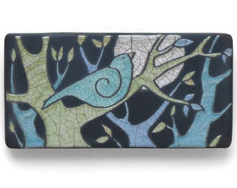 Bird ,Tree,Ceramic Wall Art ,Aqua bird,Ceramic tile,handmade 3x6 inch raku fired art tile
