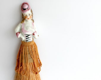 Vintage Porcelain Half Doll Clothes Brush Japan Bedroom Vanity Decor Doll Collector Gift