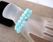 Larimar Color Jade Stretch Yoga Bracelet Set, Enameled Sterling Silver Accent, Stacking Bracelets, Yoga Bracelets, Gifts For Her, Under 25