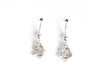 sterling forget me not earrings, botanical replica, floral earrings, flower accessory, Alaska gift, blossom jewelry, Alaska flower