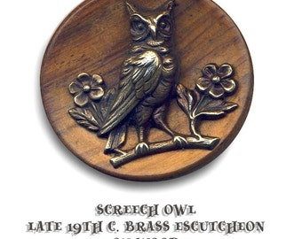 Button--Large Late 19th C. Brass Screech Owl on Wood