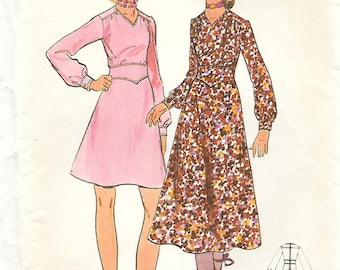 Butterick 5992 1970s Boho Dress with Softly Flared Skirt Vintage Sewing Pattern Size 12 Bust 34 Long Sleeves