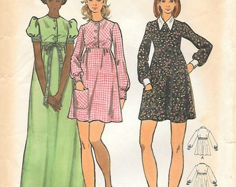 Butterick 6914 1970s Babydoll Mini or Maxi Dress Vintage Sewing Pattern Size 10 Puffed Sleeves