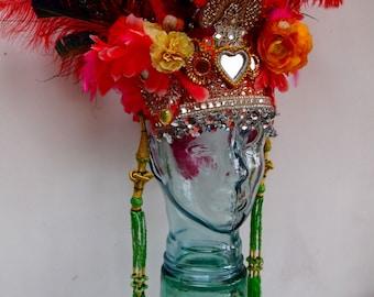 Birds of Paradise Headdress Headpiece Red Heart Mirror Festival