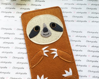 Custom Size Felt iPhone Case, Cell Phone Sleeve, Felt Phone case, Handmade cell phone purse, cute sloth case, iPhone 7 case