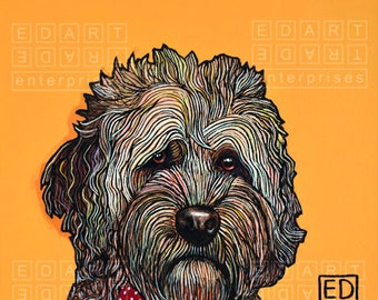 "227 Crumpet - Portuguese Waterdog  – print 14x14cm/5.5x5.5"""