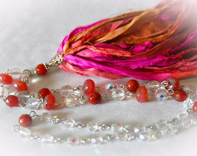 Boho Sari Silk Tassel Necklace - Coral Sunrise. Pink and Orange Silk Ribbon. Carnelian Gemstone and Glass Beads