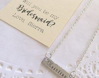 Name necklace, bar, handstamped, ask Bridesmaid, bridesmaid jewelry. FREE personalized card, Jewelry Box.