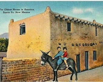 New Mexico Vintage Postcard - The Oldest House in America, Santa Fe (Unused)