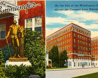 Vintage Massachusetts Postcard - The Commander Hotel in Harvard Square, Cambridge (Unused)