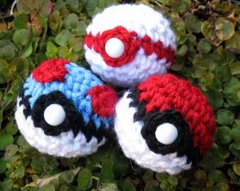 READY TO SHIP - Crochet - Pokemon Amigurumi - Pokeball, Great Ball, and Premier Ball. Pokemon Plush. Pokemon Go. Cosplay Prop. Anime. Gift.