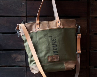 Army Canvas Tote Bag, Crossbody Tote, Unisex Bag, Canvas Bag, Recycled French Military Pack Sack / Upcycled in GERMANY / Model pauline-2192