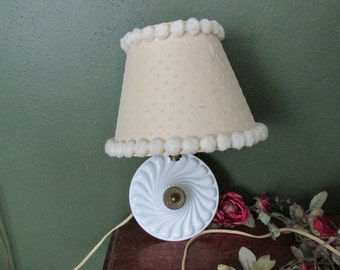 Electric Sconce Lamp Milk Glass with Antique Pom Pom Shade