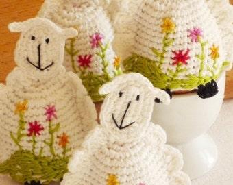 Crochet Sheep Egg Cozy - Sheep Warmers - Lamb Egg Cozies - Spring Table Decor - Wedding Gift - Gift for Farmers - Embroidered Sheep Egg Cozy