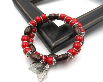 NEW Red Coral Wood Beaded - Adjustable Memory Wire Bracelet (SSBR226)
