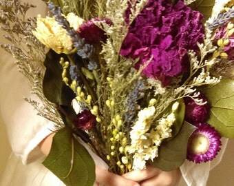 Chianti. Dried flower bouquet with wine tone peony, larkspur, salal,and lavender